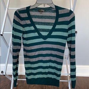 Green & gray striped l/s sweater from Limited